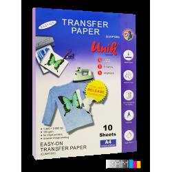 کاغذ سابلیمیشن یونیک 10 برگ 150 گرم سایز A4 برای تیشرت های روشن