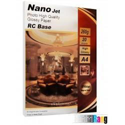 کاغذ های های گلاسه Nanojet سایز A4 وزن 260 گرم RC base