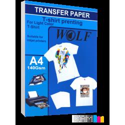 کاغذ سابلیمیشن ولف 20 برگ 140 گرم سایز A4 برای تیشرت های روشن